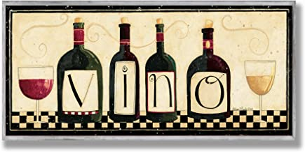 The Stupell Home Décor Collection Vino Kitchen Wall Plaque, 7 x 0.5 x 17, Proudly Made in USA