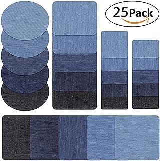 Parches para planchar, 25 parches de algodón vaquero, 5 colores y tamaño para camiseta, suéter, jeans, ropa, manualidades, costura, otros tejidos