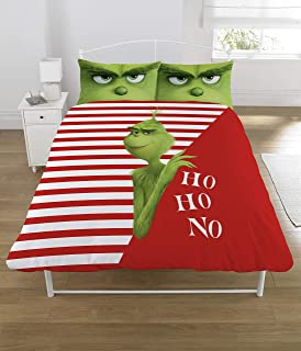 The Grinch Movie Ho Ho No UK Double Duvet Cover Set, Unfilled Covers Only