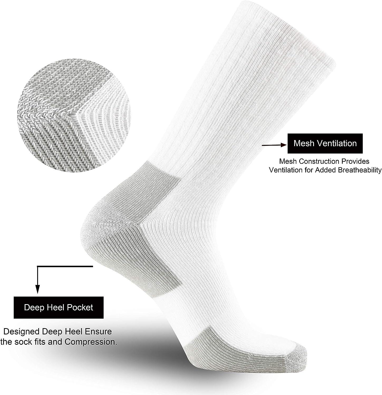 Durcusie 10 Pairs Men's Cotton Moisture Wicking Work Heavy Cushion Crew Socks