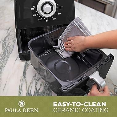 Paula Deen 8.5QT (1700 Watt) Large Air Fryer, Rapid Air Circulation System, Square Single Basket System, Ceramic Non-Stick Co