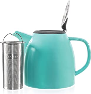 Tealyra – Drago Ceramic Teapot Turquoise – 37oz (4-6 cups) – Large..