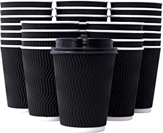 100 Pack 12 oz Black Ripple Wall Disposable Coffee Cups with Lids and Stirring Straws I Disposable Insulated To Go Paper Coffee Cups for Hot Beverages I Travel Cups, No Leaks! No Sleeves Needed!