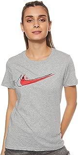 Nike Women's DOUBLE SWOOSH T-Shirt, Grey , Small
