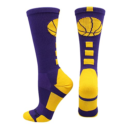 c3cab21bc88 MadSportsStuff Basketball Socks with Basketball Logo Athletic Crew Socks  (Over 20 Colors)