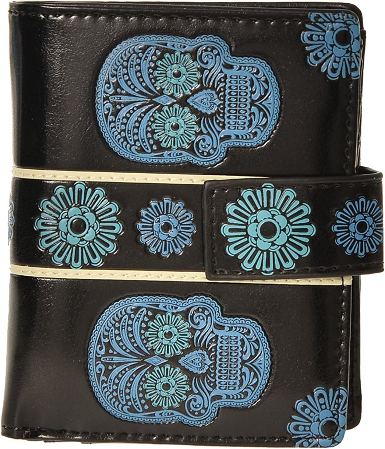 Shag Wear Women's Small Wallet Skull Blackbluee