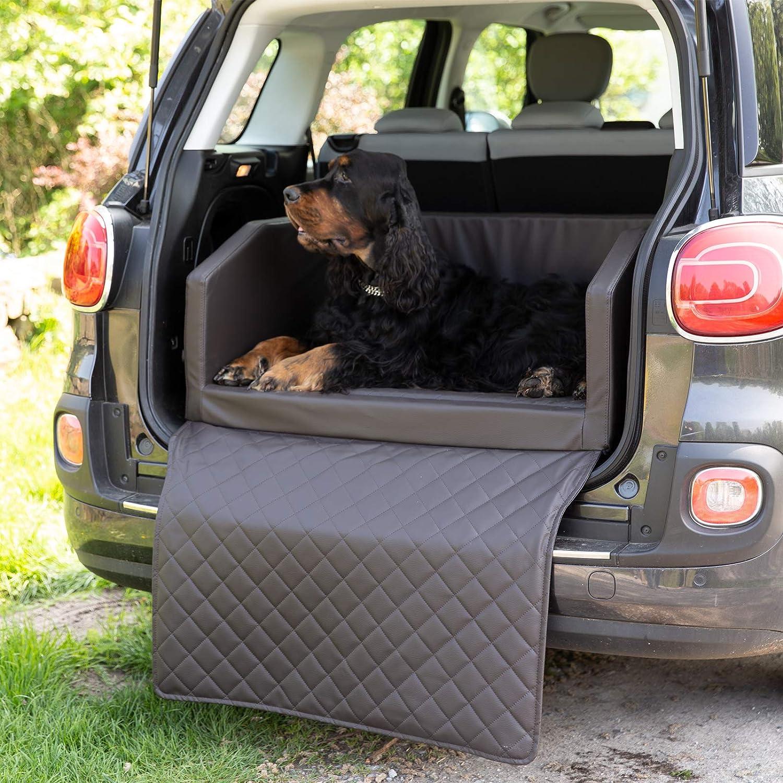 Copcopet Travel Bed Hunde Reisebett Aus Kunstleder Hunde Autobett Wasserabweisende Tiermatratze Hundebett Mit Decke Als Kratz Und Schmutzschutz L Ca 90 X 70 Cm Braun Haustier