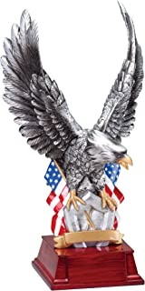 Decade Awards Silver American Eagle Trophy - Patriotic Award - 11 Inch Tall - Customize Now