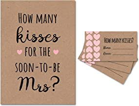 How Many Kisses for the Soon to be Mrs Bridal Shower Game (Kraft/Pink) 1 Sign + 30 Cards, Made in the USA (1)