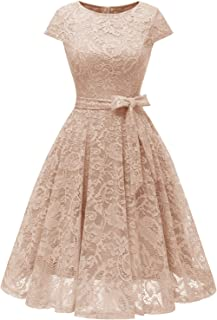 MuaDress Cocktailkleid Knielang Cape Ärmel Spitzen Brautjungfernkleid Floral Elegant