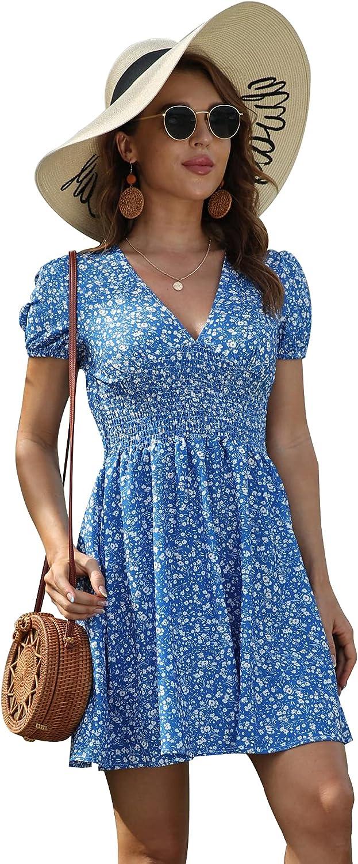 Bonkwa Women's Summer Dress Ruffle Hem Deep V Neck Dress Floral Print Short Sleeves Elastic Waist Casual Dresses