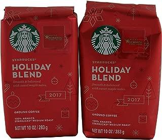 Starbucks Holiday Blend Medium Roast Ground Coffee, 10-Ounce Bag (2 Pack)