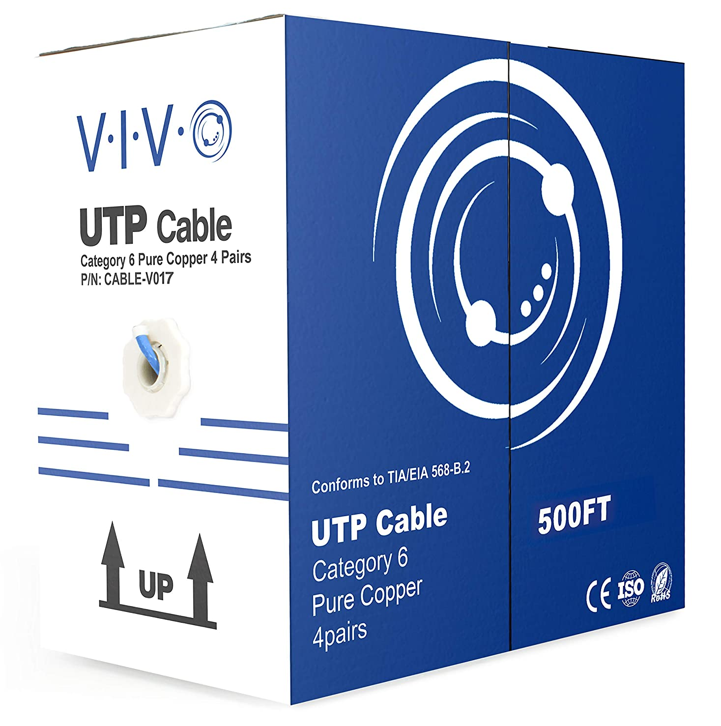 VIVO Blue 500ft Bulk Cat6 Full Copper 23 AWG Indoor LAN Ethernet Cable Wire | UTP Pull Box 500 ft Cat-6 Copper (CABLE-V017)
