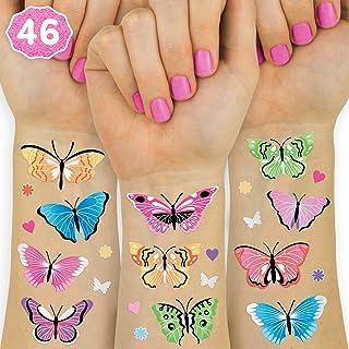 xo, Fetti Butterfly Temporary Tattoos - 46 Glitter Styles | Rainbow Fairy Birthday Party Supplies, Monarchs, Hearts, Flowe...
