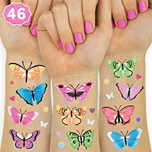 xo, Fetti Butterfly Temporary Tattoos - 46 Glitter Styles | Rainbow Fairy Birthday Party Supplies, Monarchs, Hearts, Flowers, Garden Arts and Crafts