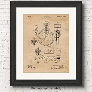 Original Pocket Watch Patent Poster Prints, Set of 1 (11x14) Unframed Photo, Great Wall Art Decor Blueprints Gifts Under 15 for Home, Office, Man Cave, College Student, Teacher, Old World Time Fan