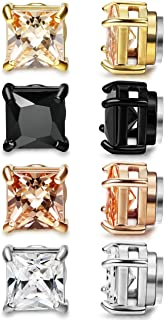 LOYALLOOK Stainless Steel Stud Earrings for Women Mens Non-piercing Magnetic Earrings Square Cubic Zirconia