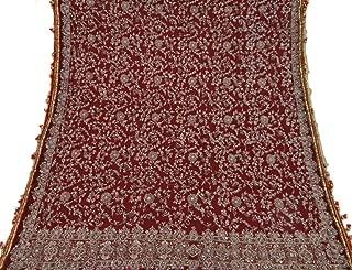 Vintage Bridal Dupatta Long Indian Scarf Net Beaded Fabric Maroon Veil Stole