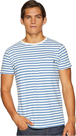 Ams Blauw Single Pocket Regular Fit Colored Striped T-Shirt