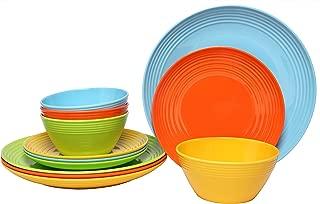 Melange 12-Piece  Melamine Dinnerware Set (Solids Collection ) | Shatter-Proof and Chip-Resistant Melamine Plates and Bowls | Color: Multicolor | Dinner Plate, Salad Plate & Soup Bowl (4 Each)