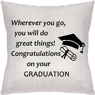 ZCHXD Graduation Gifts Pillow Cover Pillowcase Decorative Cushion Cover Linen Sofa Pillow Case Wherever You Go, You Will D...