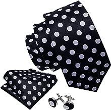 Barry.Wang Men's Tie Set Polka Dot Handkerchief Cufflinks New Fashion Neckties