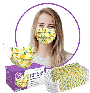 Cute Mask (50 Pack) - 3-Ply Pineapple Face Mask for Women, Cute Disposable Face Mask with Comfortable Earloops & Adjustabl...