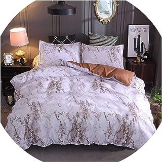 Juego de ropa de cama de matrimonio con diseño de mármol negro de Perilla Fire, juego de funda de edredón de 2 piezas para...