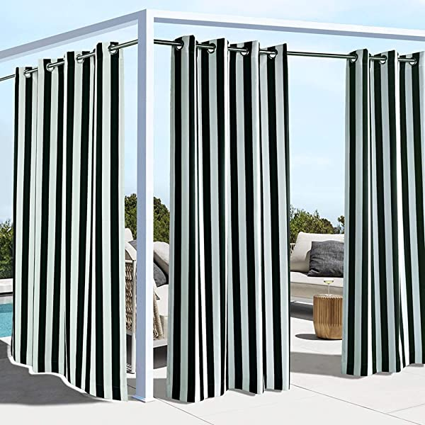 Outdoor Decor Coastal Stripe Cabana Panel Black 50 Wide By 96 Long