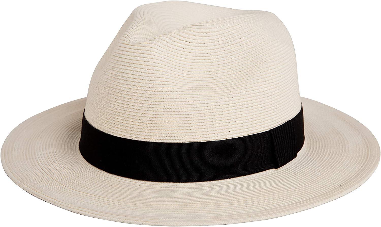 Pineapple&Star Sun Straw Fedora Beach Hat Fine Braid UPF50+ for Unisex