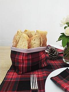 GIACALLON Cestino Portapane per la Tavola in Cotone per il Pane tessuto tartan Rosso e Nero porta cioccolatini noci frutta