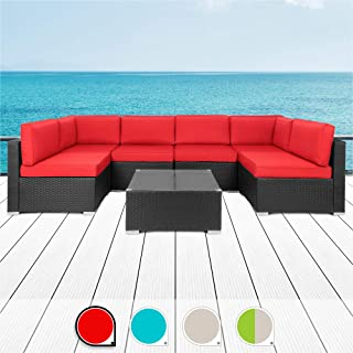 Walsunny 7pcs Patio Outdoor Furniture Sets,Low Back All-Weather Rattan Sectional Sofa with Tea Table&Washable Couch Cushions (Black Rattan (Blue) (Blue)