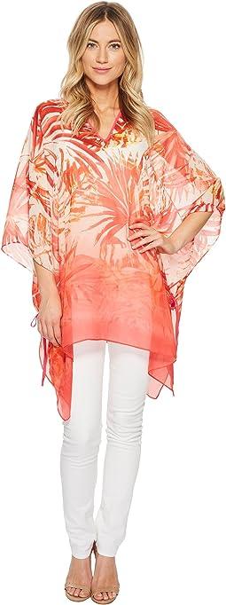 Calvin Klein - Ombre Tropical Chiffon Poncho