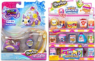 Shopkins Shop & Drive Mini Packs 16 Items Grocery Mini Items Bundled with Color Changing Car QT Fantasy Fun Toy 2 Items