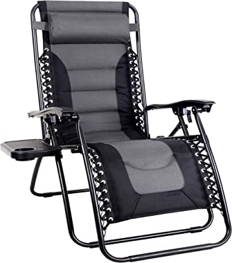 MFSTUDIO Zero Gravity Chair Large Portable Patio Recliners Adjustable Padded Folding Chair with Cup Holder for Poolside Outdo