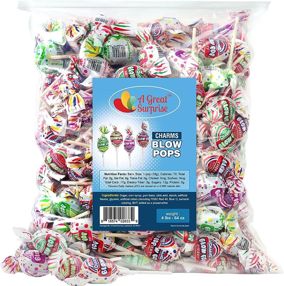 A Great Surprise Charms Blow Pops - 4 LB Bag - Assorted Flavors - Bubble Gum Filled Pops