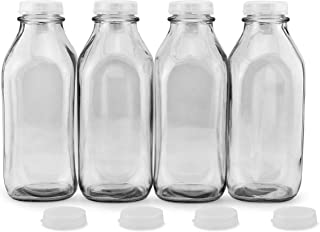 Cornucopia Quart Size Glass Milk Bottles (4-Pack); Retro Vintage Style Milk Jugs with Slip-On Lids, Extra Lids Included