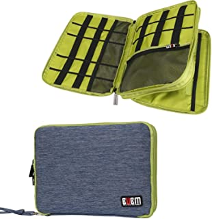 BUBM Travel Cable Organizer, Universal Electronic Accessories Bag Gear Storage for Cord, USB Flash Drive, Earphone and More, Perfect Size for iPad (Large, Blue and Green)