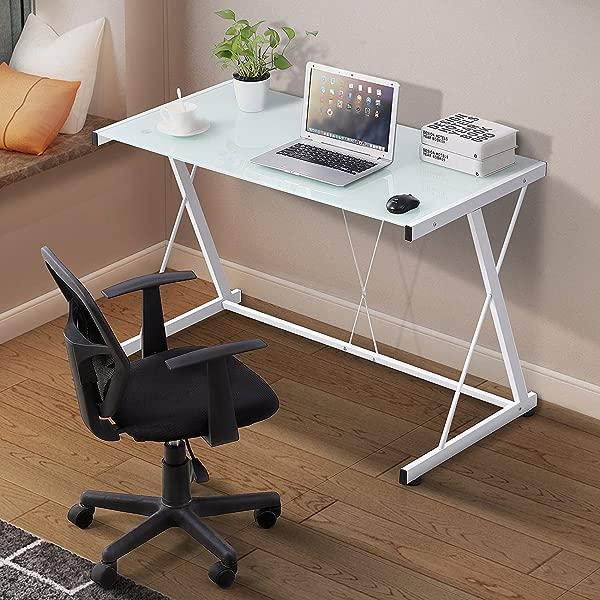 Mecor Glass White Computer Desk Z Shaped Metal Frame Corner Laptop PC Table Workstation Home Office