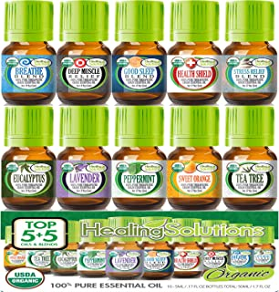 Top Blends & Oils USDA Certified Organic Essential Oils Set (10 Pack - 100% Pure & Natural) Therapeutic Grade - 5ml Set