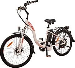 DJ City Bike 750W 48V 13Ah Step-Thru Power Electric Bicycle, Pearl White, LED Bike Light, Fork Suspension and Shimano Gear,