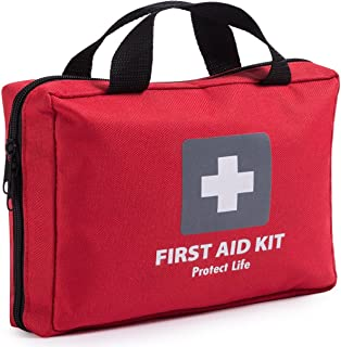 First Aid Kit - 200 piece - for Car, Home, Travel, Camping, Office or Sports   Red bag w/reflective cross, fully stocked with essential supplies for Emergency and Survival