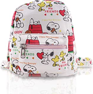 2c51b1d299 Finex White Snoopy Mini Small Canvas Backpack All Over Print for School  Daypack Causal Travel Day