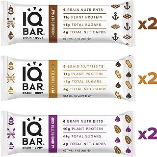 IQ BAR Brain + Body Bars, Chocolate Lovers Variety | Keto, Paleo-Friendly, Vegan | 10-11g Protein, <1g Sugar, 4g Net Carbs | Non-GMO, Gluten-Free, No Sugar Alcohols | 6-Count (3 Flavors)