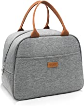 Insulated Lunch Bag for Women, Floral Waterproof Thermal Lunch Bags for Work, Flower Insulated Lunch Box Cooler Bag (snowflake grey)
