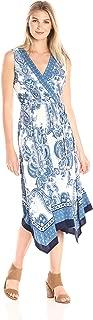 Sandra Darren Women's Sleeveless V-Neck Printed Hanky Hem Belted Jersey Dress