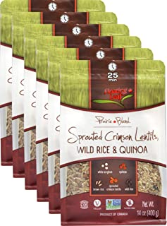 Floating Leaf Fine Foods - Sprouted Crimson Red Lentil, Wild Rice and Quinoa Prairie Blend - Case of 6 x 14 ounces - Gluten-Free, Non GMO, and Vegan