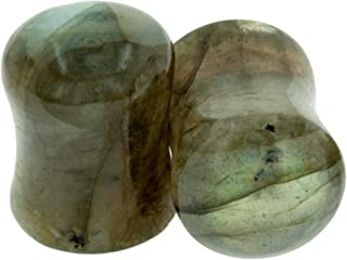 Pair of Labradorite Stone Double Flared Domed/Flat Plugs
