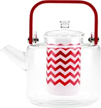BonJour 46671 Reverie Handblown Teapot with Bamboo Handle, 42-Ounce, Medium, Glass/Rosehip Red
