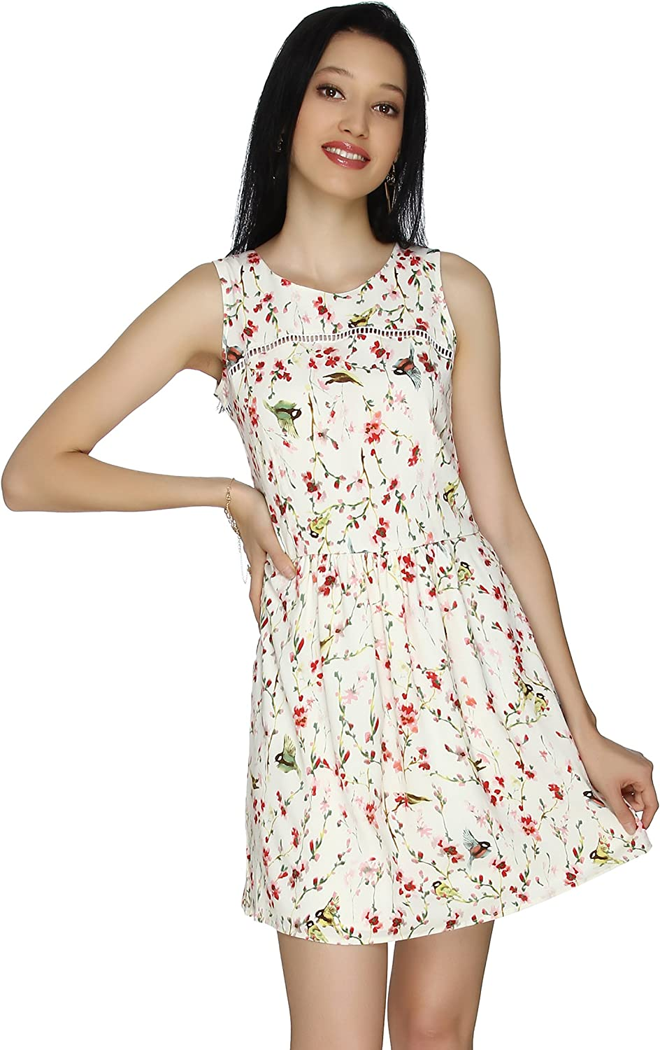 20Dresses Womens Floral Printed Fit and Flare Casual Sleeveless Short Dress
